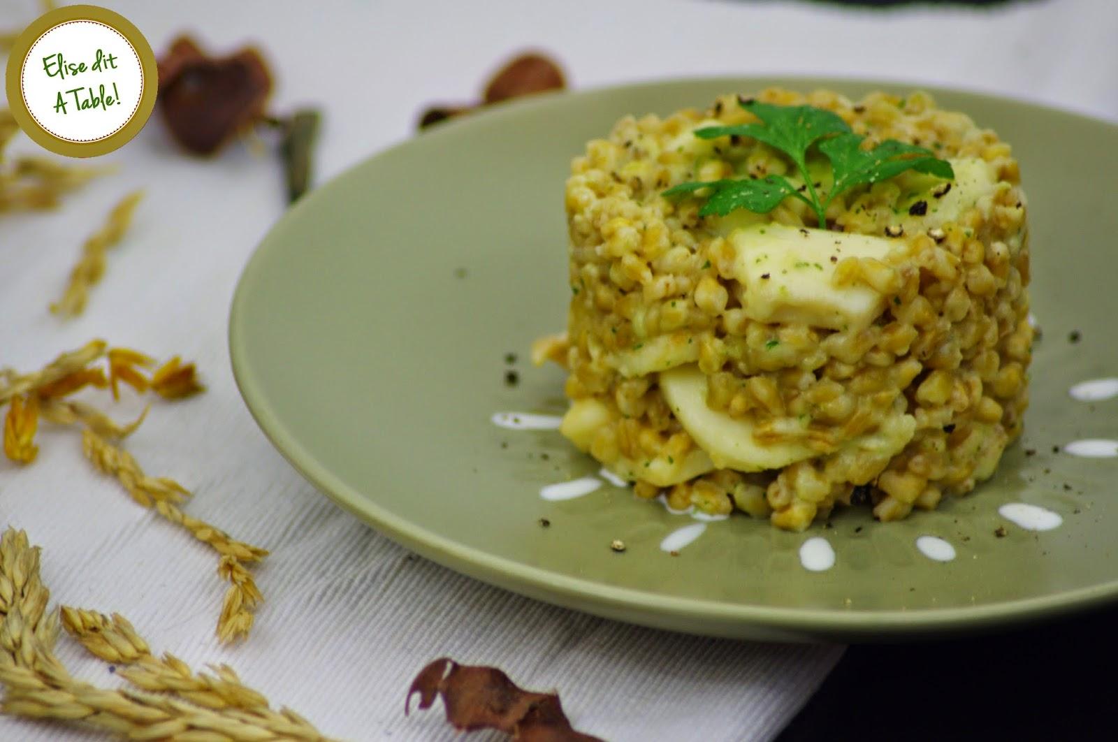 recette blé encornet sauce crème à l'ail et persil
