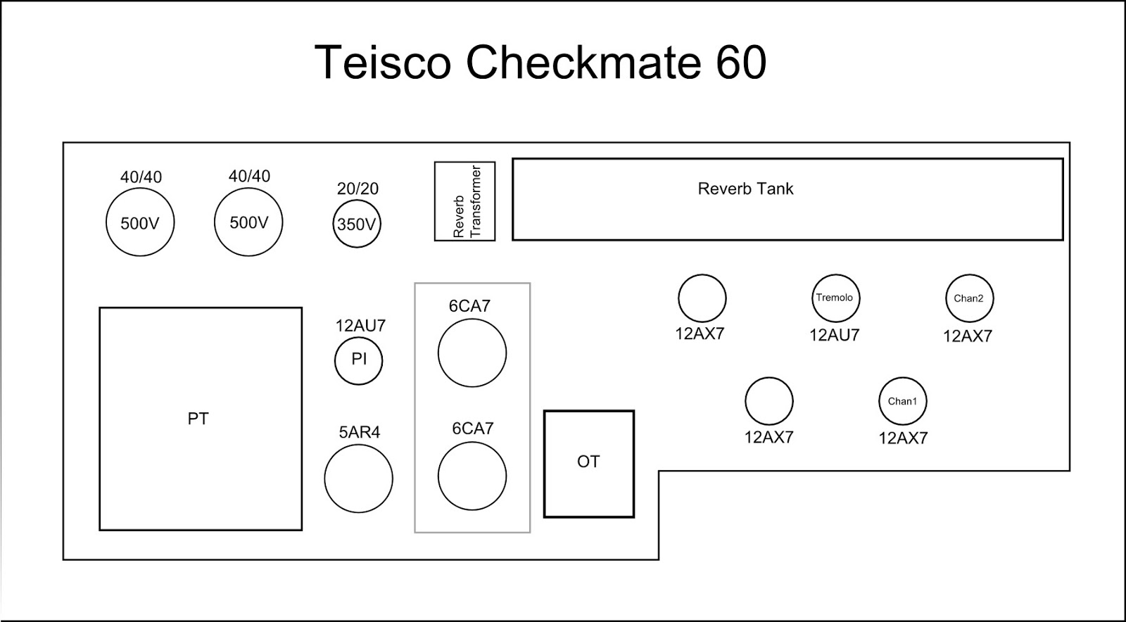 Redplate City 2013 1979 Checkmate Wiring Diagram The 60 Uses A Pair Of 6ca7 Tubes El34 I Suspect This Is Original Power Tube Complement Other Sources Reference 6l6