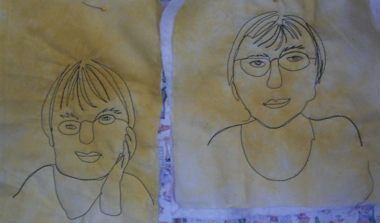 Line Drawing Face : Fiber art by diane continuous line drawing
