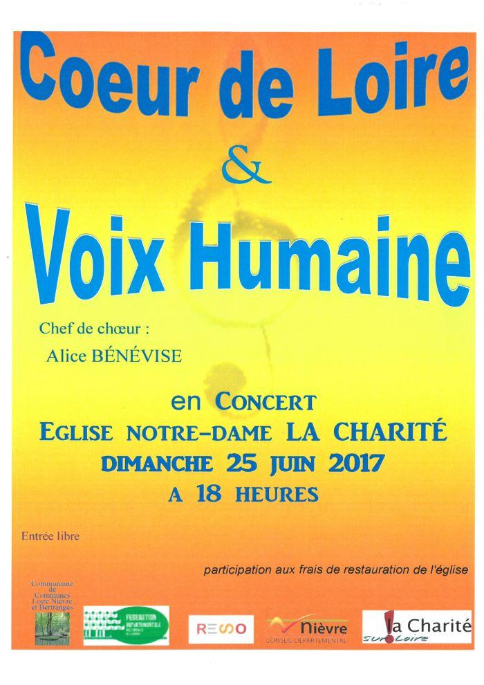 Concert Cœur de Loire et Voix Humaine dimanche 25 juin