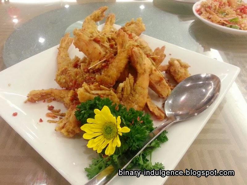 Pan-seared tiger prawns