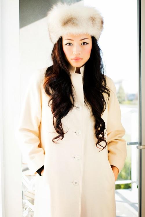 Vancouver Fashion Blogger Jasmine Zhu wearing vintage fur hat and vintage coat