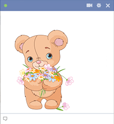 Flowers teddy sticker for Facebook