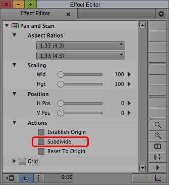 Avid Pan and Scan in the Effect Editor.