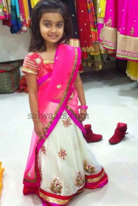 Baby in White and Pink Half Saree