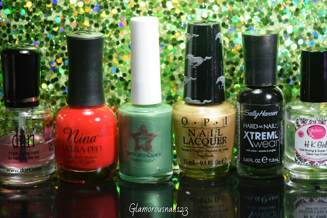 Duri Rejuvacote, Nina Ultra Pro Red Fox, Shinespark Polish Humming Bird, O.P.I 50 Years Of Style, Sally Hansen Xtreme Wear Black Out, Glisten & Glow HK Girl Fast Drying Top Coat