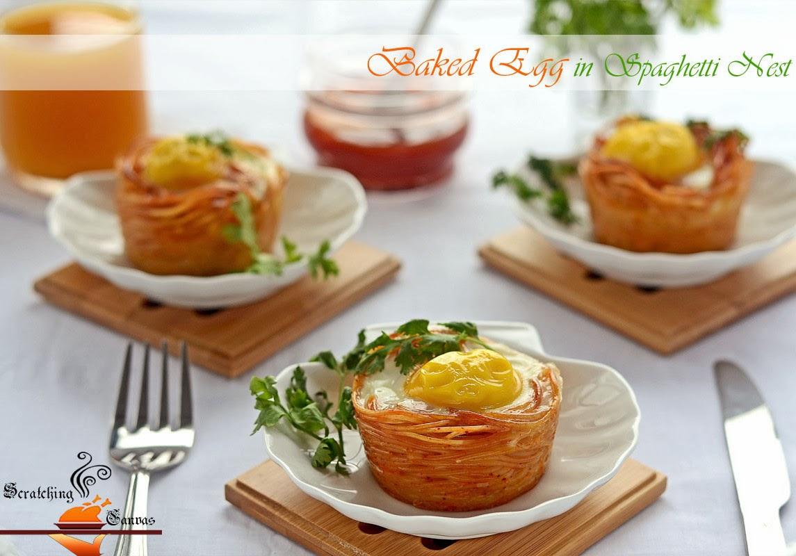 Baked Egg in Spaghetti Nest