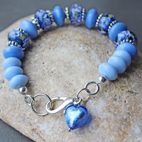 Blue Glass Beads bracelet with Murano Glass Heart Charm