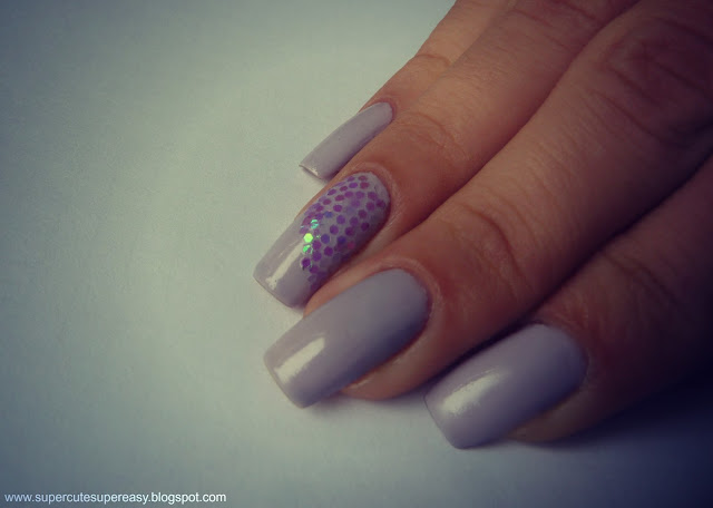 Pastel Purple Nails With Sequins