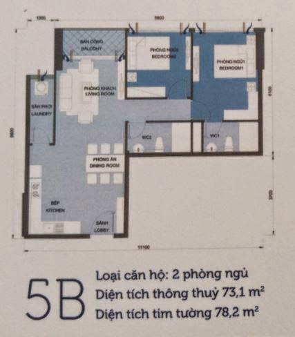 Căn hộ Vinhomes Central Park 6 - căn hộ số 5B - 78.2m2 - 2PN