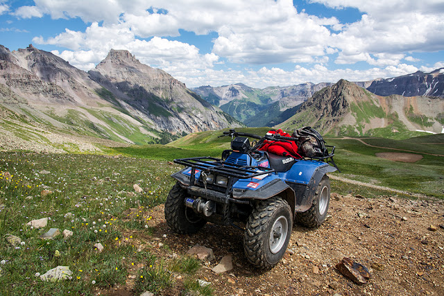 The upper trailhead at Yankee Boy Basin with our ATV on a climb of Mt. Sneffels