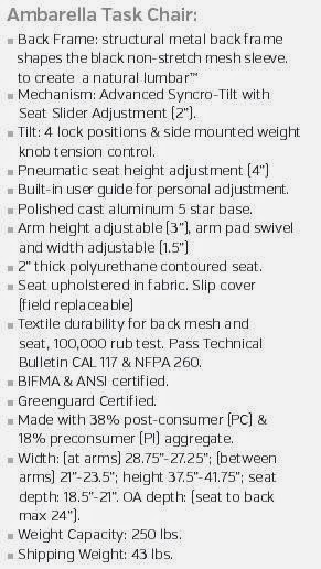 Ambarella Task Chair Specifications