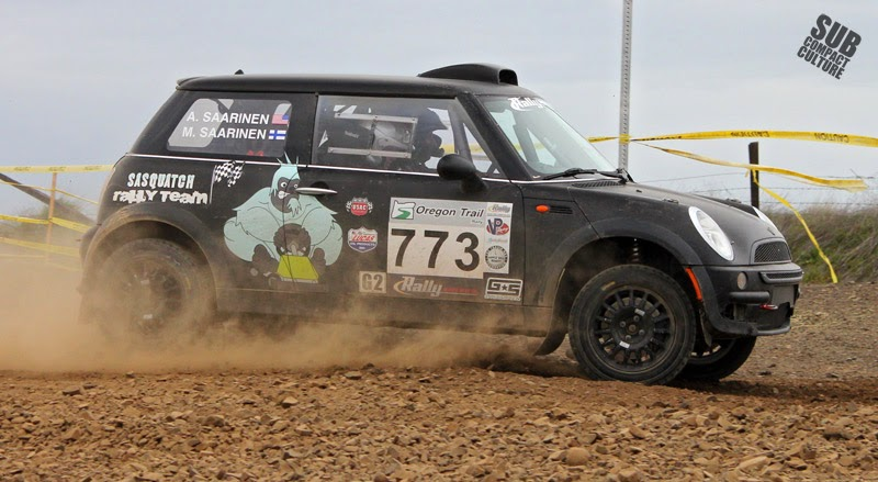Black MINI Cooper rally racer