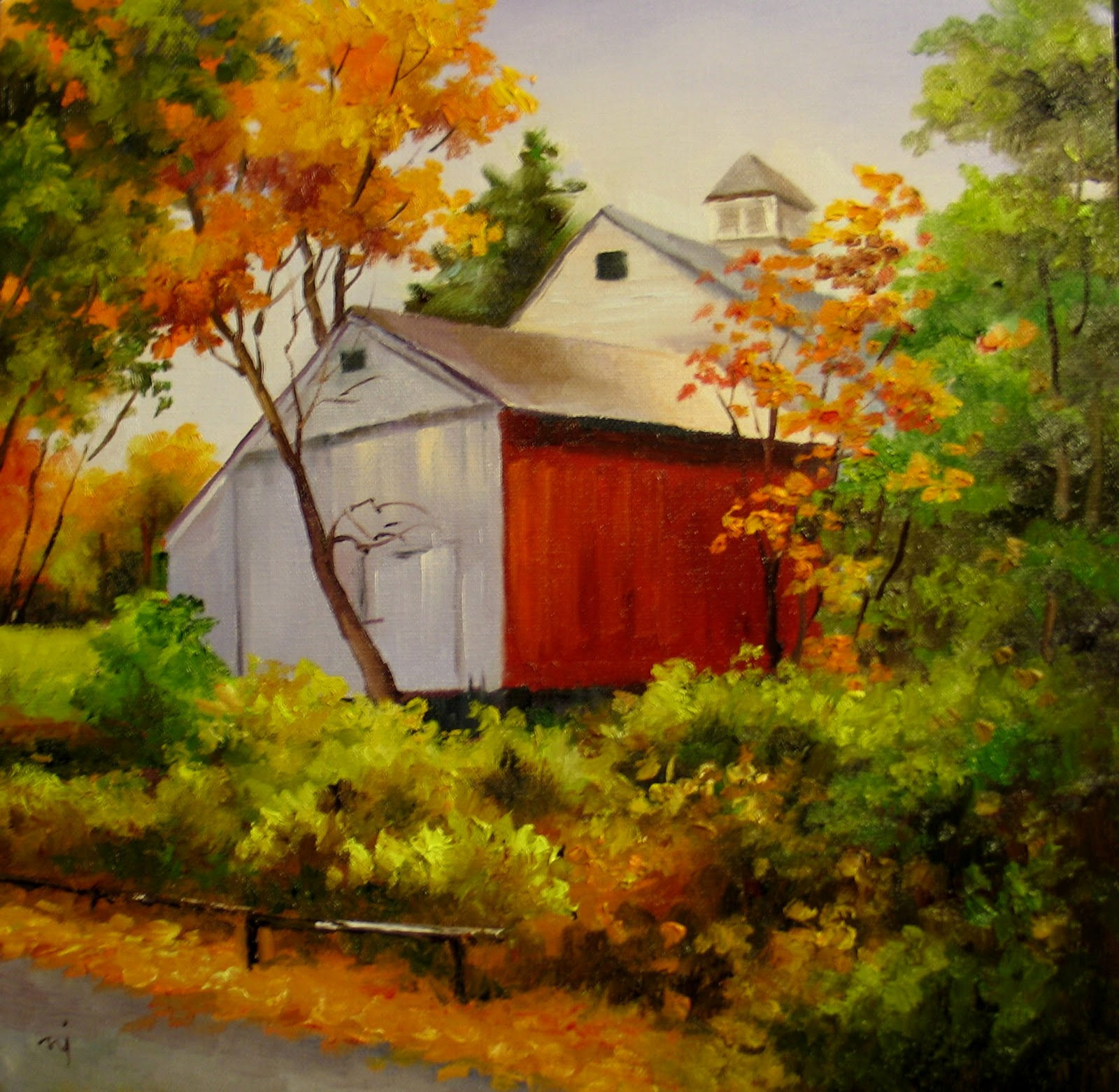 Nel's Everyday Painting: Barn In Fall