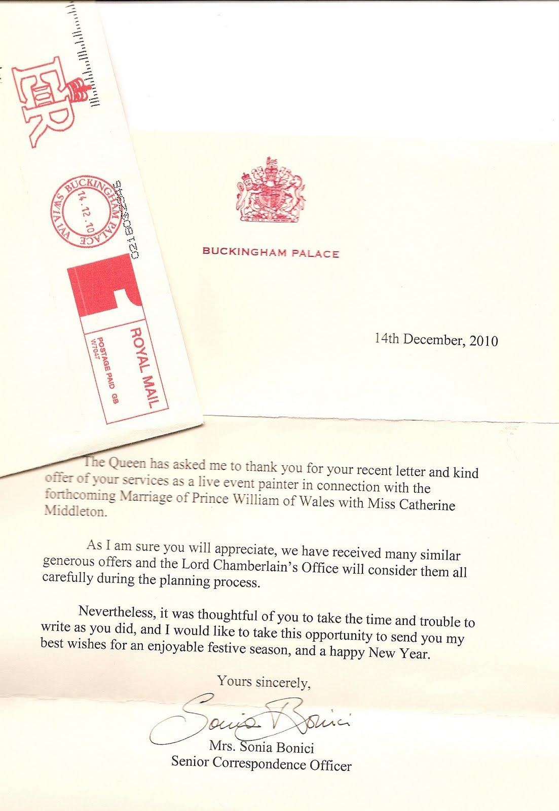 Royal Wedding Correspondence