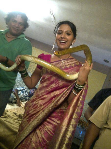 Tejashri Pradhan Engagement Tejashri pradhan holding snake