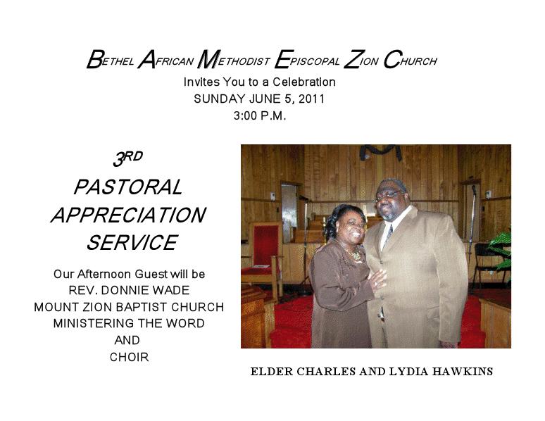Bethel AME Zion's Pastor's Appreciation Day