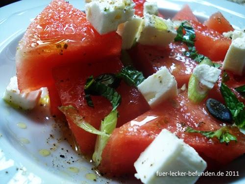 f r lecker befunden watermelon salad. Black Bedroom Furniture Sets. Home Design Ideas