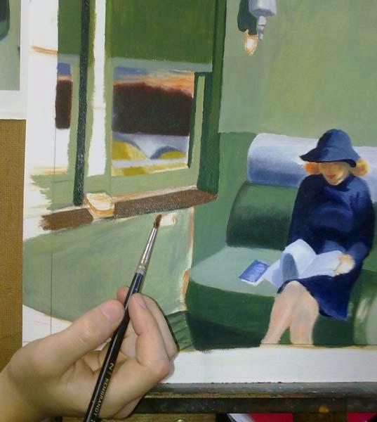 detalle del proceso de pintura de un cuadro de edward hopper