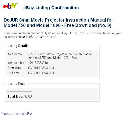 eBay Listing Confirmation DeJUR 8mm Movie Projector Instruction Manual