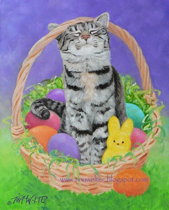 """Twinks Loves Easter"" oil on gessobord © 2015 Tina M Welter  Grey and white striped cat with a happy face in an Easter basket."