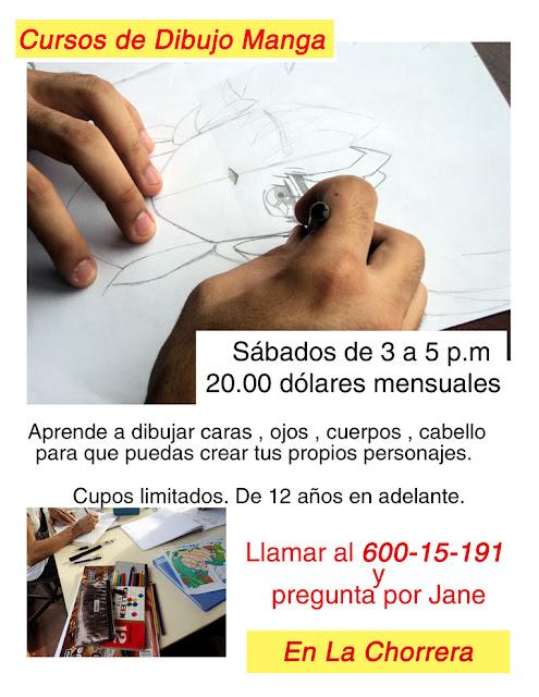 Afiche de cursos de dibujo manga en Panamá.
