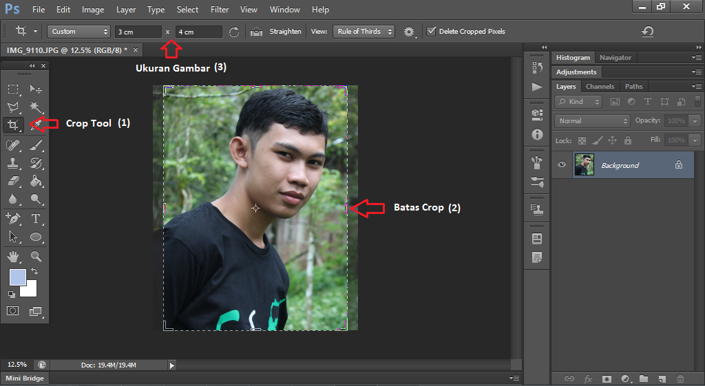 ukuran gambar, potong, foto, tutorial photoshop, belajar photoshop