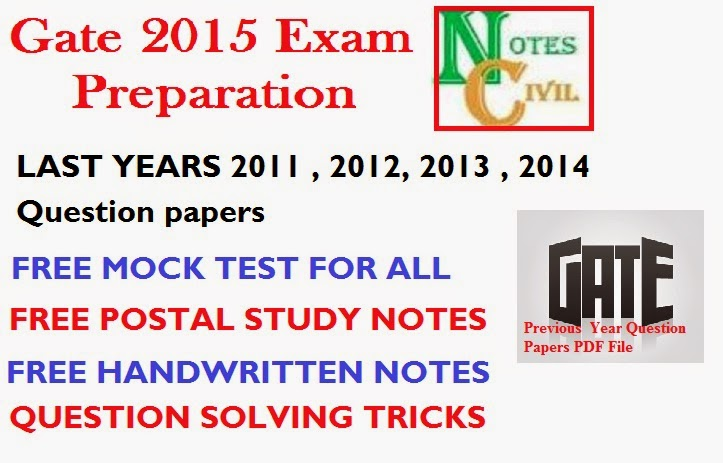 [PDF] CE GATE PREVIOUS YEAR QUESTION PAPER ( 2011 , 2012 , 2013 , 2014) + FREE MOCK TEST ALL BRANCH ENGINEERING