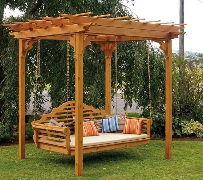 Amazing creativity cedar pergola swing bed stand an