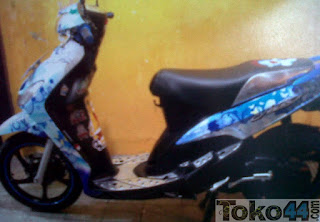 Modifikasi Stiker Motor Mio warna Biru