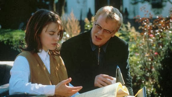 "Rebecca Pidgeon and Philip Seymour Hoffman in ""State and Main"""