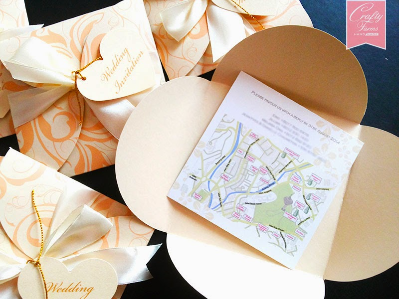 Pastel Floral Petal Fold Wedding Card with map printing