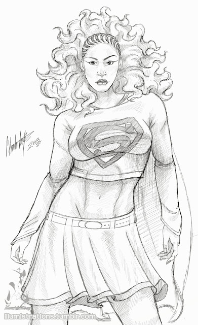 Supergirl, Kara, Metropolis, black superheroes, black superhero, african american superhero, black woman, black hero, comics, dc comics, dc sirens, sketch