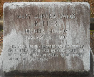 Grave of Mary Aurora Evans Ritter (From Find-a-Grave)
