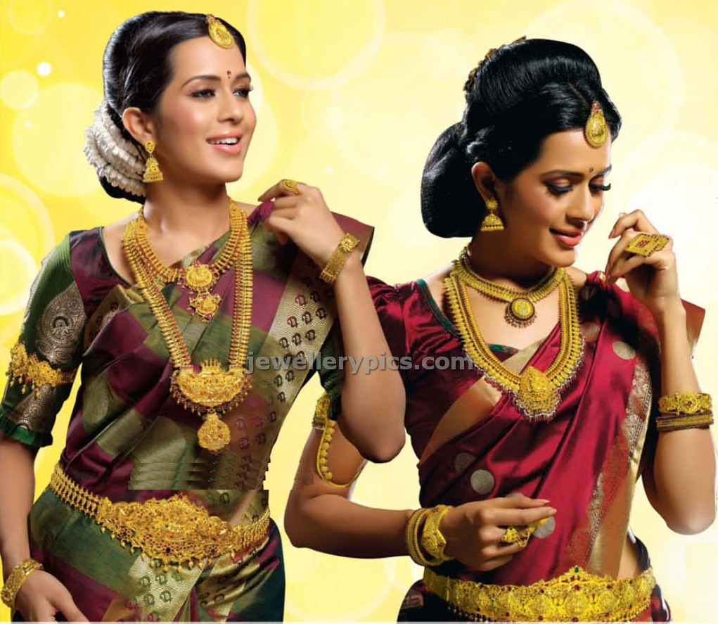 models weairing gold indian bridal jewellery for thamnga mayil