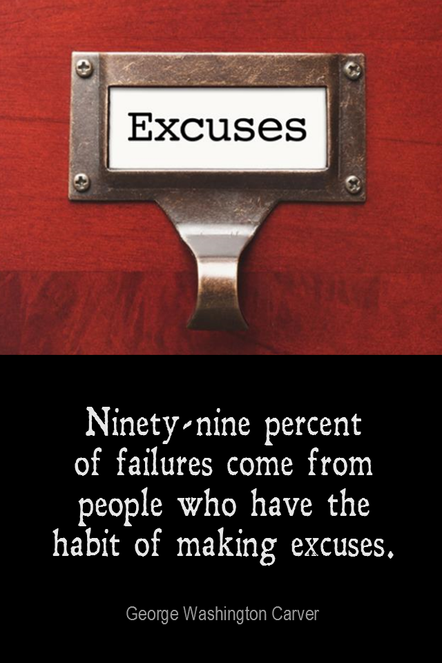 visual quote - image quotation for HABIT -Ninety-nine percent of failures come from people who have the habit of making excuses. - George Washington Carver