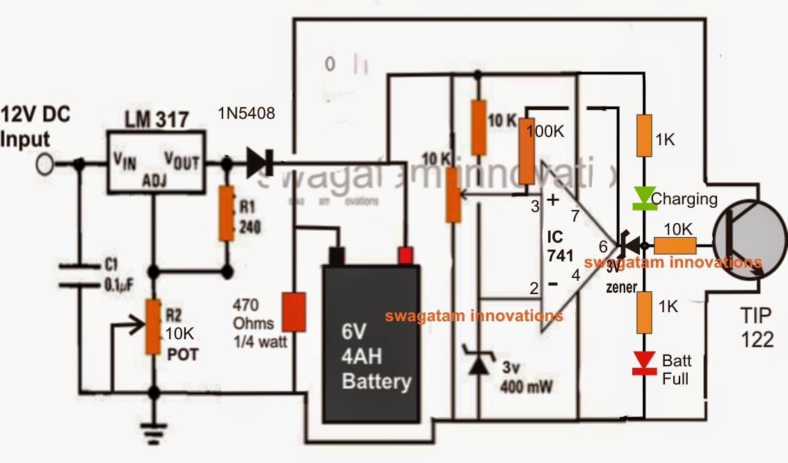 6V 4AH, battery charger circuit with transistor and variable voltage LM317