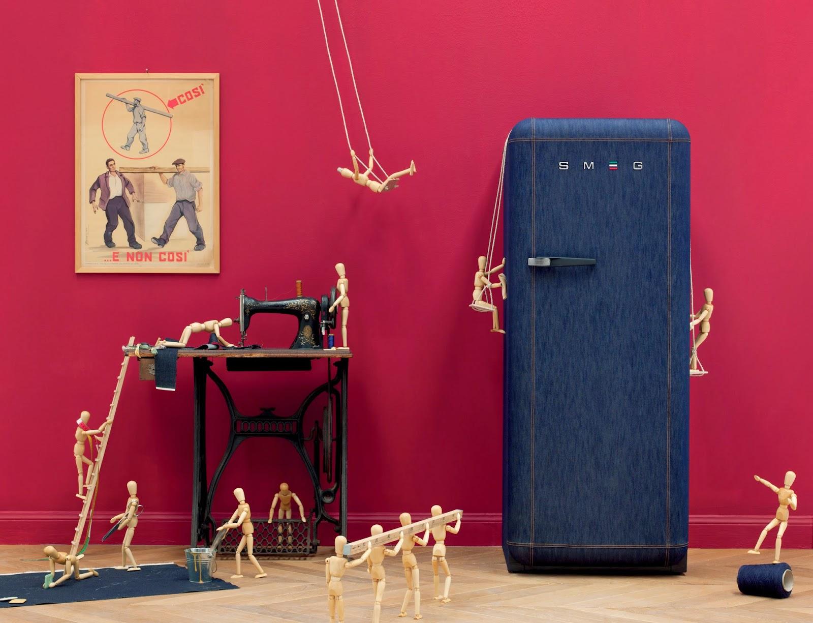 frigorifero bombato smeg in tela denim jeans design