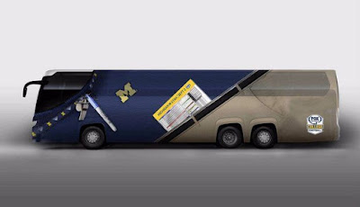 FOX Sports unveils Jim Harbaugh-themed bus, complete with khakis.