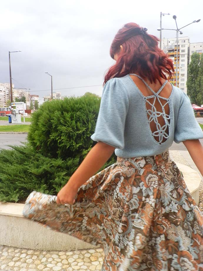 outfit: handmade full skirt and knitted, backless blouse