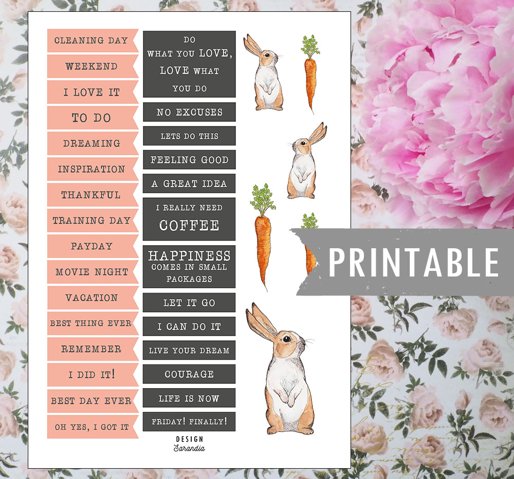 Printable bunny stcikers