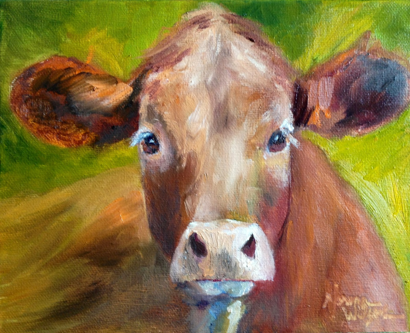 Norma wilson art norma wilson original oil calf cattle for Animal oil paintings