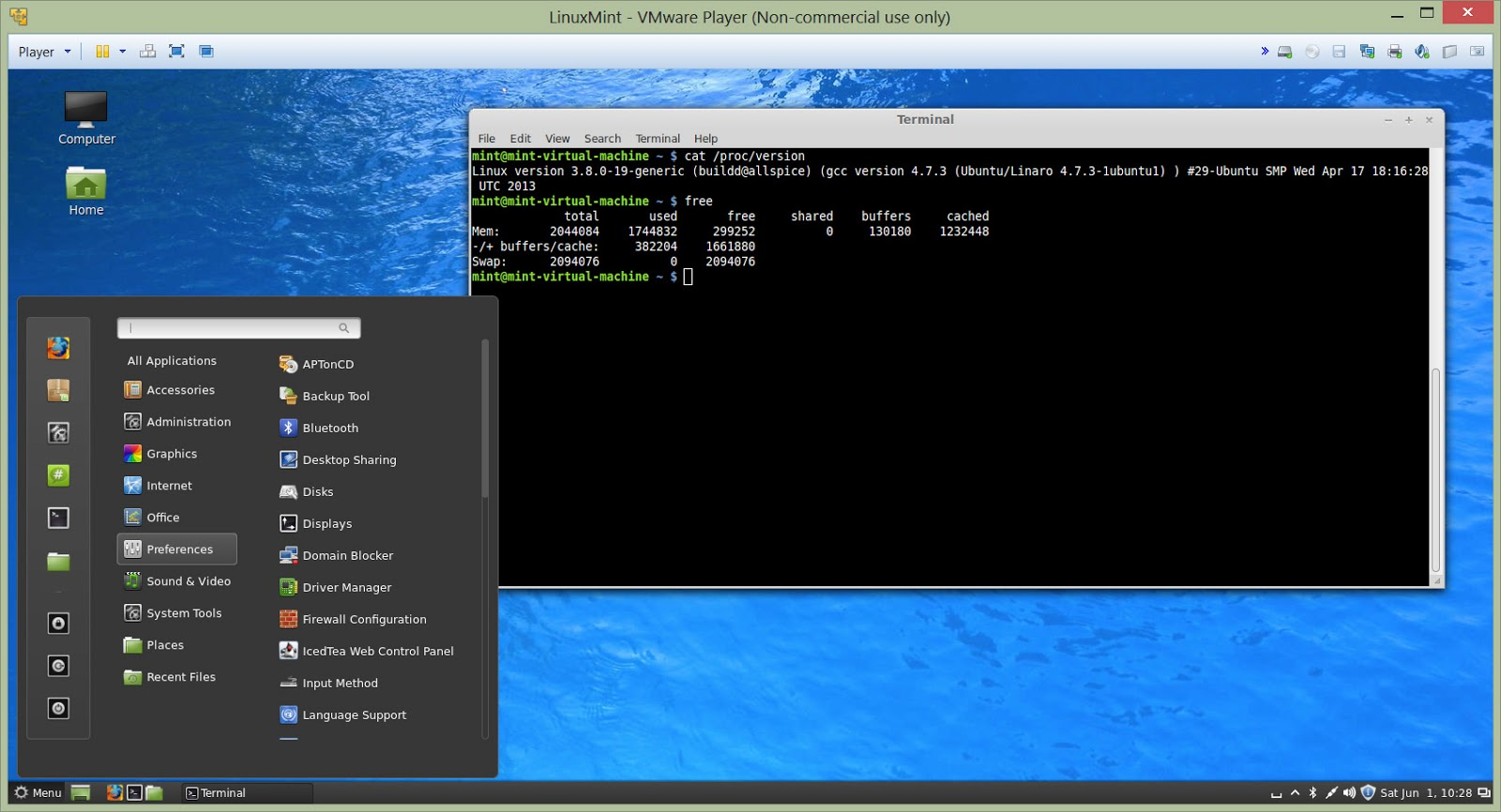 linux mint machine