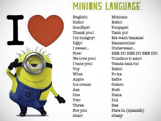 minions slang, minions language, minions accent, despicable me 2, minion songs