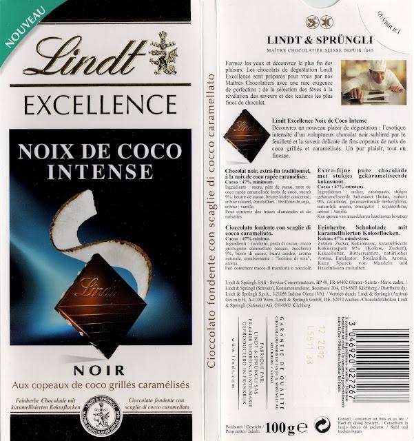 tablette de chocolat noir gourmand lindt excellence noix de coco intense