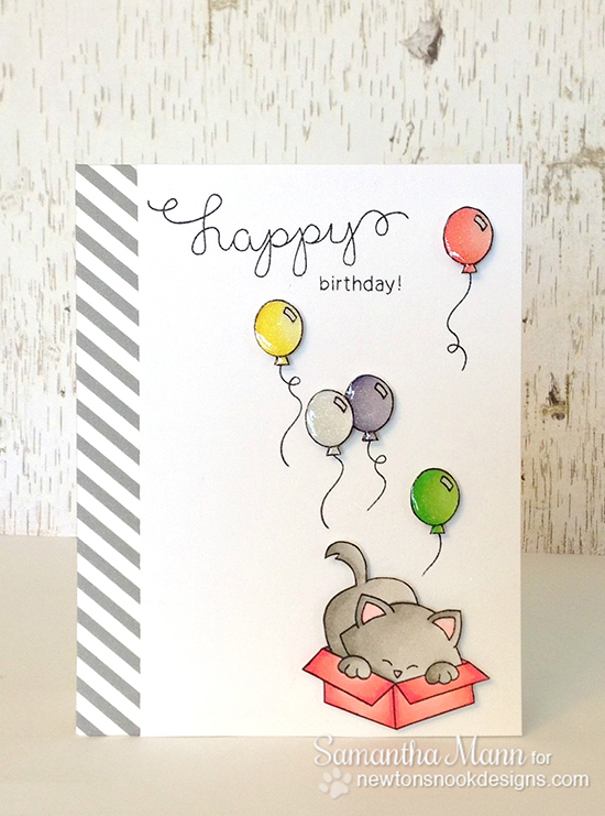 Cat Birthday card for Inky Paws Challenge by Samantha Mann | Newton's Nook Designs