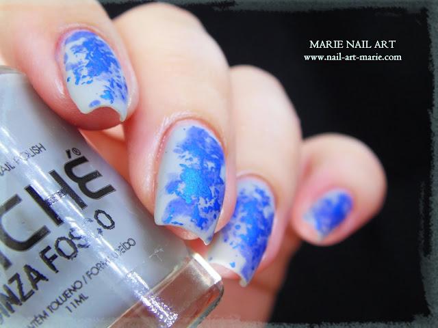 Nail Art Double Texture de Bleu1
