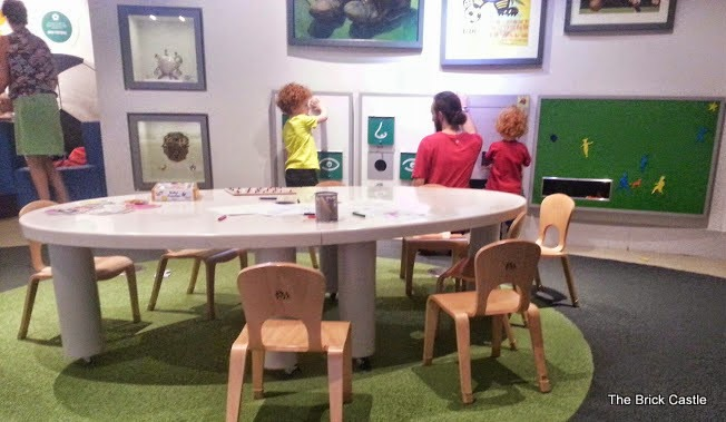 The National Football Museum at Urbis, Manchester under 5's room for relaxing and playing games on wall