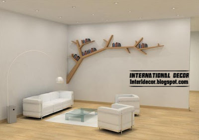 modern wall shelves of tree branches, tree shelves , tree shelf style