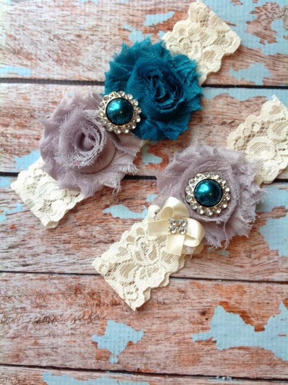 Wedding Garter Teal